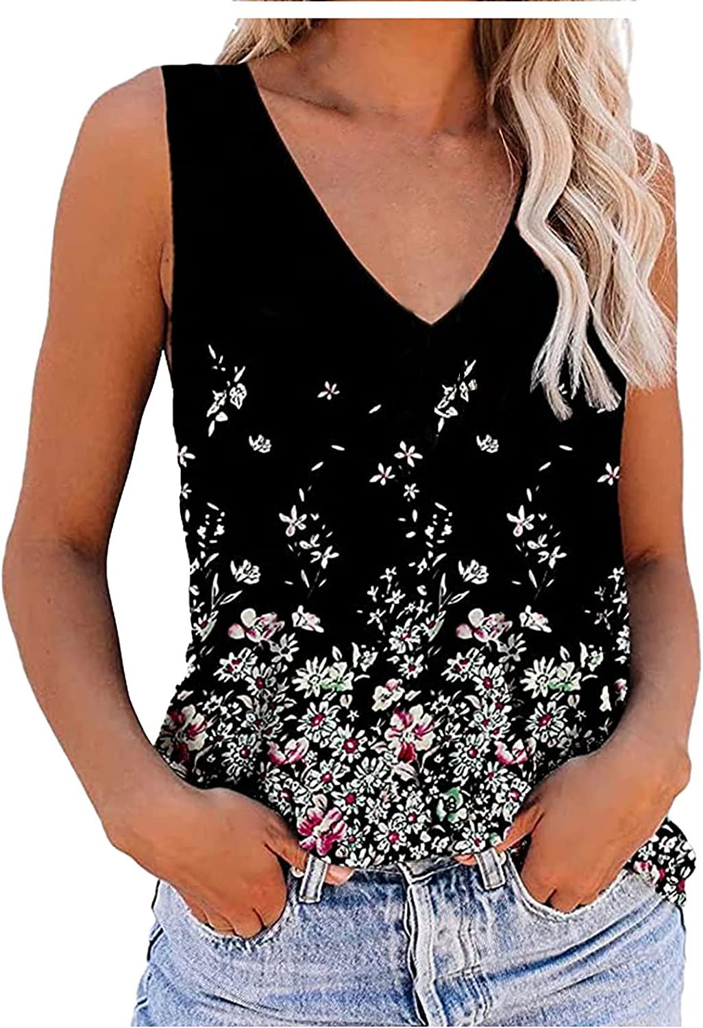 Eduavar Tank Tops for Women, Womens Summer Color Printed V Neck Sleeveless Vest T-Shirts Casual Loose Blouse Tunic Tops
