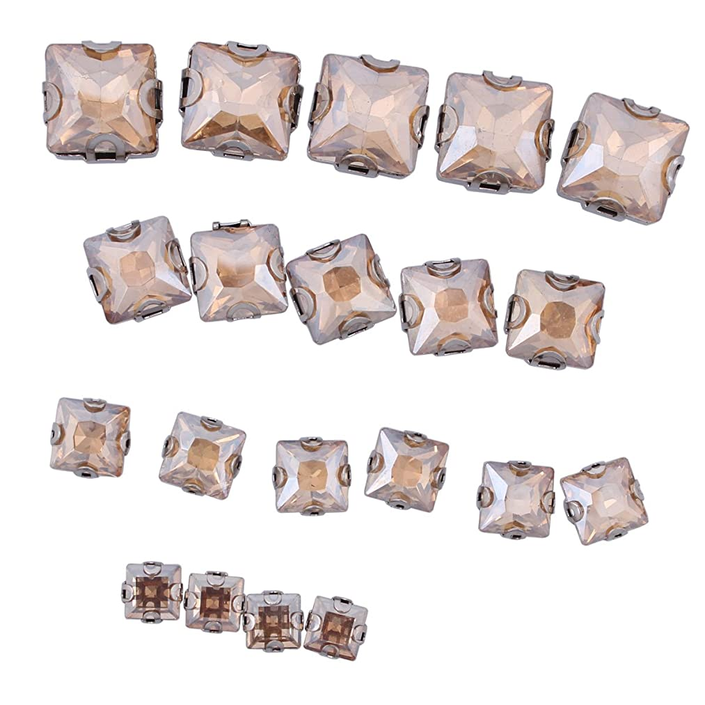 ZIJING 55pcs Mixed Size Silver Brass Metal Setting Champagne Gold Color Square Facets Sew On Crystal Rhinestones Elements Gems Stone Beads with 4 Holes for Sew On (Champagne Gold Mix Size-55pocs)