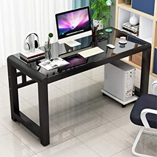 Computer Desk Large Tempered glass Table Study Writing Desk Workstation for Home Office black