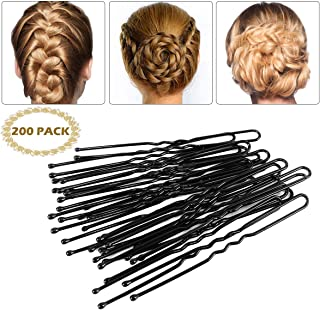 Bun Hair Pins - 200 Pack U Shaped Pins Bobby Pins Curved Bun Hair Clips Hair Styling Tools for Women Hairdressing (Black)