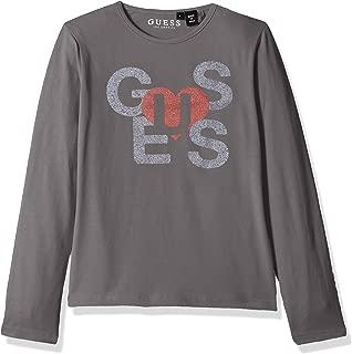 GUESS Girls' Big Long Sleeve Heart Graphic Logo T-Shirt