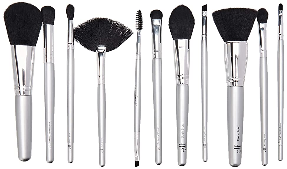 E L F Cosmetics Silver 11 Piece Brush Collection 1 Set