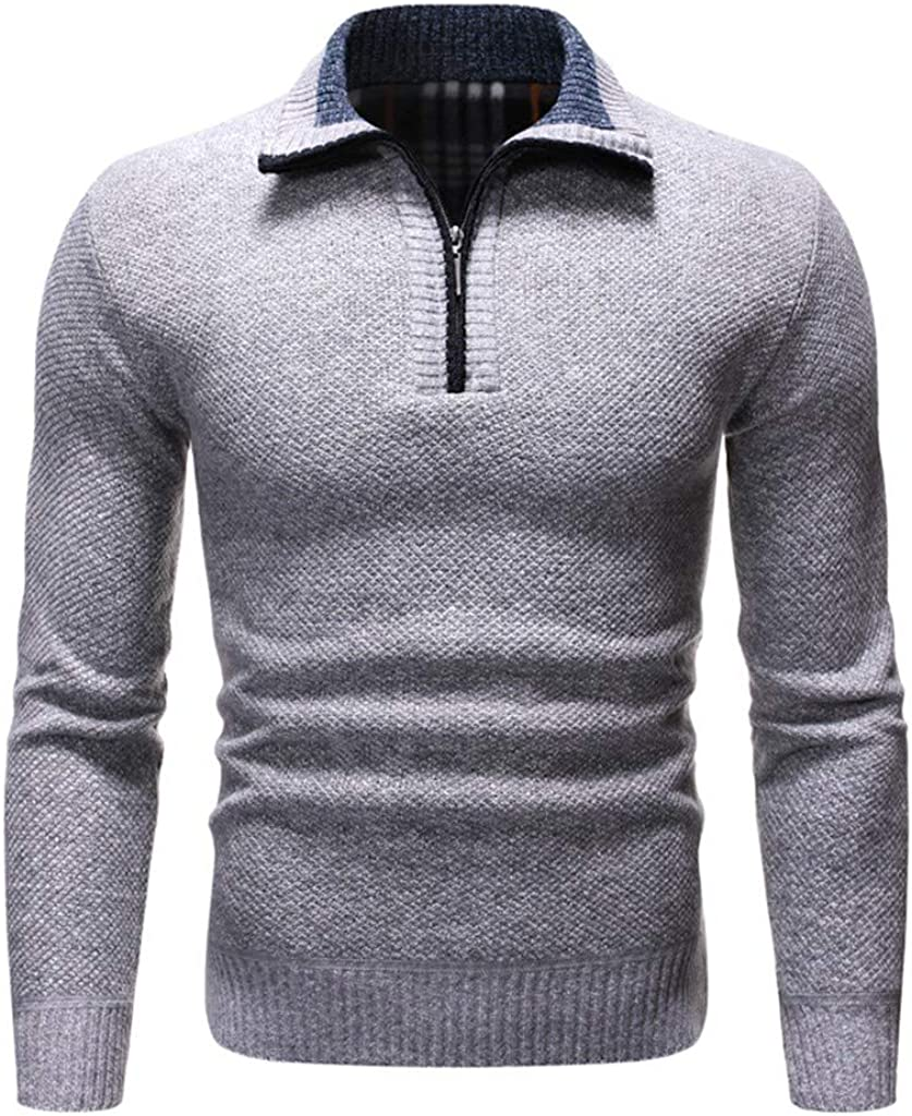 MODOQO Mens Zip Up Sweaters Long Sleeve Stand Collar Warm Breathable Knitwear for Autumn Winter