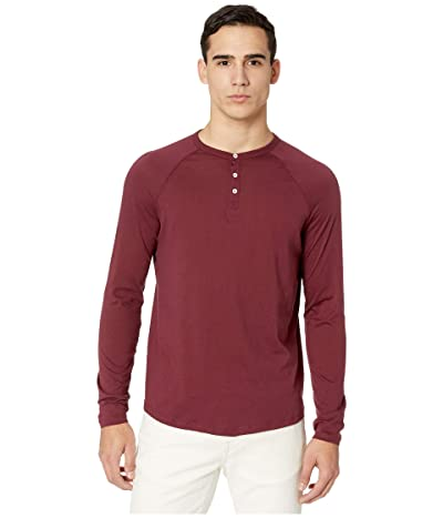 Alternative Organic Long Sleeve Raglan Henley (Currant) Men