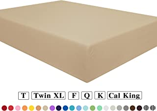 NTBAY Fitted Sheet Queen Khaki Brushed Microfiber Deep Pocket Sheet Wrinkle, Fade, Stain Resistant