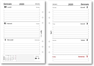 Ricambio agenda A4 BIANCO 21x30 giornaliera forata 2020 agenda organizer