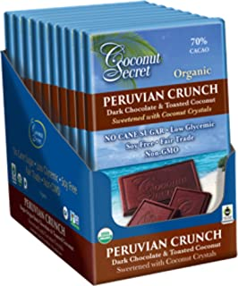 Coconut Secret Peruvian Crunch (12 Pack) - 2.25 oz - Gourmet Dark Chocolate & Toasted Coconut Bar, Sweetened with Coconut Crystals - Low-Glycemic, Organic, Non-GMO