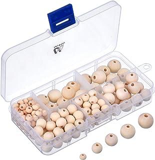 150 Stück Natürliche Runde Holzperlen Set mit Box für DIY Schmuck Herstellung, 5 Größen 6 mm/ 8 mm/ 10 mm/ 12 mm/ 14 mm