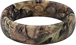 Groove Life - Silicone Ring for Men and Women Wedding Rubber Band with Lifetime Coverage, Breathable Grooves, Comfort Fit, and Durability - Thin Camo Mossy Oak