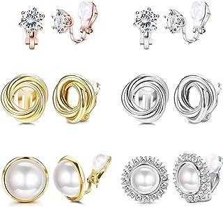 Adramata 6 pares de pendientes con clip para mujer CZ perlas de agua dulce nudo torcido sin perforaciones juego de pendien...