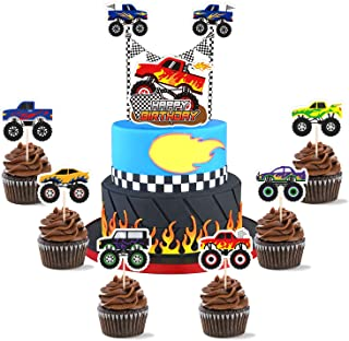 Monster Truck Birthday Cake Toppers Set - Monster Truck Party Supplies for Boys Bigfoot Monster Cars Trucks Birthday Cupca...