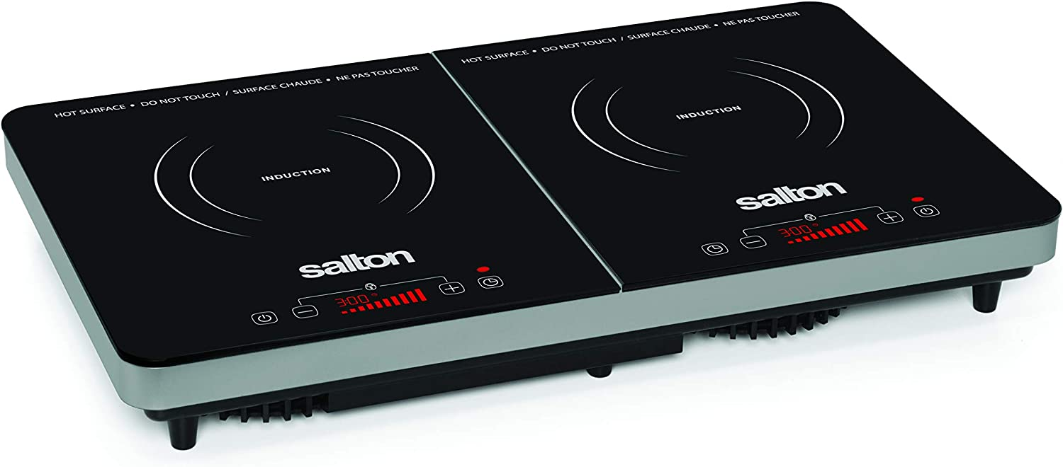 store Salton 1 year warranty Portable Double Induction Black Cooktop