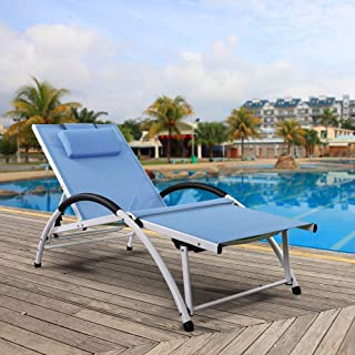 Ukeacn Patio Chaise Lounge Lawn Chair - High-Strength Aluminum Materials, Adjustable Reclining Folding Chairs with Pillow for Outdoor Indoor Home Garden Pool Beach, Weight Capacity 300 LB(Blue)