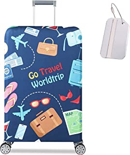 Luggage Cover Travel Suitcase Protector Washable Dustproof Anti-Scratch Baggage Cover with Suitcase Tag (GO TRAVEL WORLD-b...