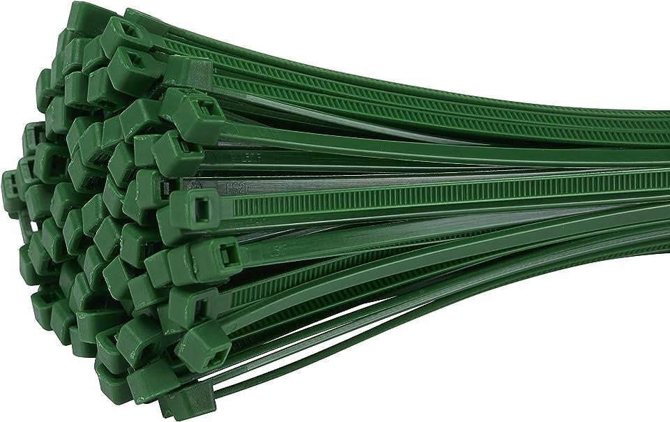 Fix&Easy Kabelbinder 2,5x100mm Grün 300 Stück Set für Blätterzaun Blickschutz Drahtzaun Pflanzstäbe Rankstäbe