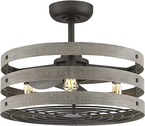 """popular Progress online sale Lighting P250012-143-22 Gulliver 3-Blade Fan Enclosed in a lowest Three Band cage with The LED Bulbs Included, 18-1/8"""" x 23-1/2"""", Graphite outlet online sale"""