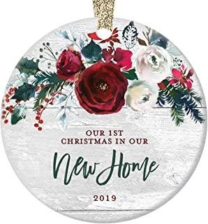 New Home Christmas Ornament 2019 Modern Farmhouse, First Christmas in Our New House Gift for Homeowner 1st Present Floral Ceramic Keepsake Present 3