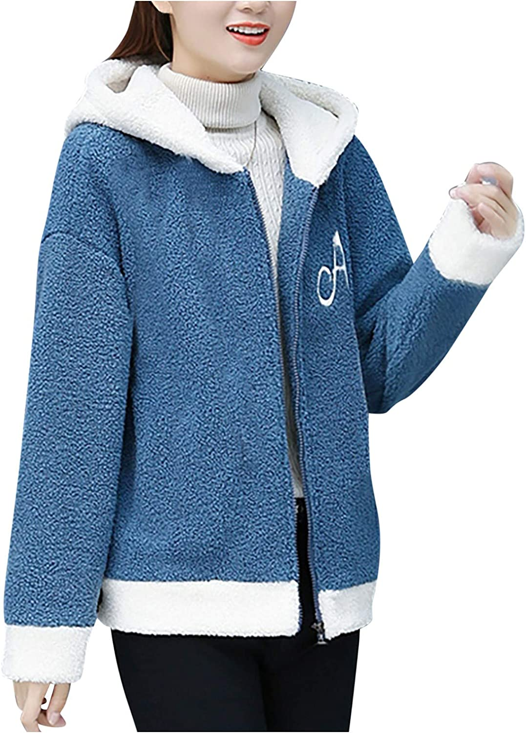 Comfy Hoodies for Women Warm Fuzzy Fleece Color Block Hooded Coat Casual Full-Zip Letter Outwear with Pockets