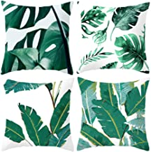 Cushion Cover 45X45 Set Of 4 Tropical Leaves Digital Print Decorative Throw Pillow Case 18X18inch (Tropical Leaves)