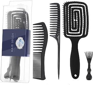 Beauenty 4pcs Curved Vent Brush and Hair Comb Set,Detangler Brush for Women Men Wet Dry Oil Balck Thick Long Wavy Natural ...