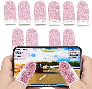 Finger Sleeves for Gaming, Anti-Sweat Touchscreen Finger Sleeves, Non-Slip Breathable Pink Finger Sleeves for Girls (10 Pcs)