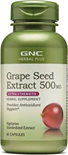 GNC Herbal Plus Grape Seed Extract 500mg - Extra Strength, 60 Capsules, Provides Antioxidant Support