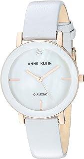 Anne Klein Women's Genuine Diamond Dial Leather Strap Watch
