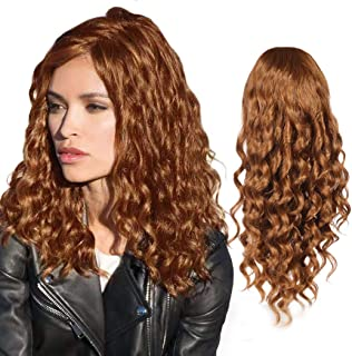 Rinboool Synthetic Lace Front Wigs for Women,Medium Length Right Side Part,Fashion Curly,Auburn Brown 30