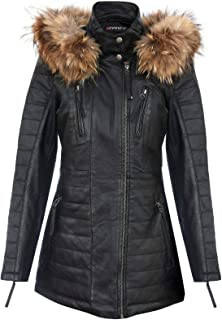Women's Black Leather Parka Jacket Quilted Detachable Hooded Trench Coat