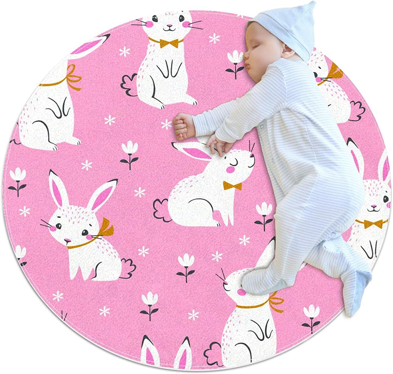 Seamless Pattern 5 popular of Cute White Mat Bunnies Kids Play Polyester Max 59% OFF