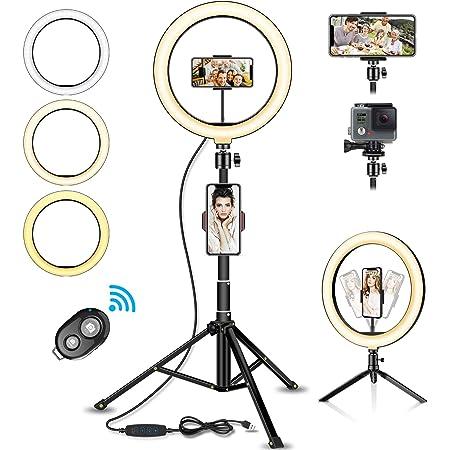 "SYOSIN Luz de Anillo LED,Aro de Luz de 10.2"" con Trípode Control Remoto Bluetooth,3 Modos de Luces 10 Brillos Regulable para Móvil Selfie,Fotografía,Maquillaje,Youtube,TIK Tok Live"