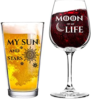 Moon of My Life My Sun and Stars Wine and Beer Glass Set for GOT Fan Couples- 12.75 oz Wine Glass & 16 oz Beer Pint Glass-...