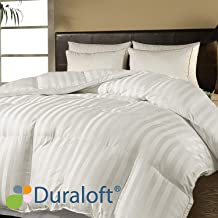 Blue Ridge Home Fashions 500 Thread Count Damask Stripe (2 cm) Duraloft Down Alternative Comforter, Full/Queen, White