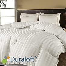 Blue Ridge Home Fashions 500 Thread Count Damask Stripe (2 cm) Duraloft Down Alternative Comforter, King, White