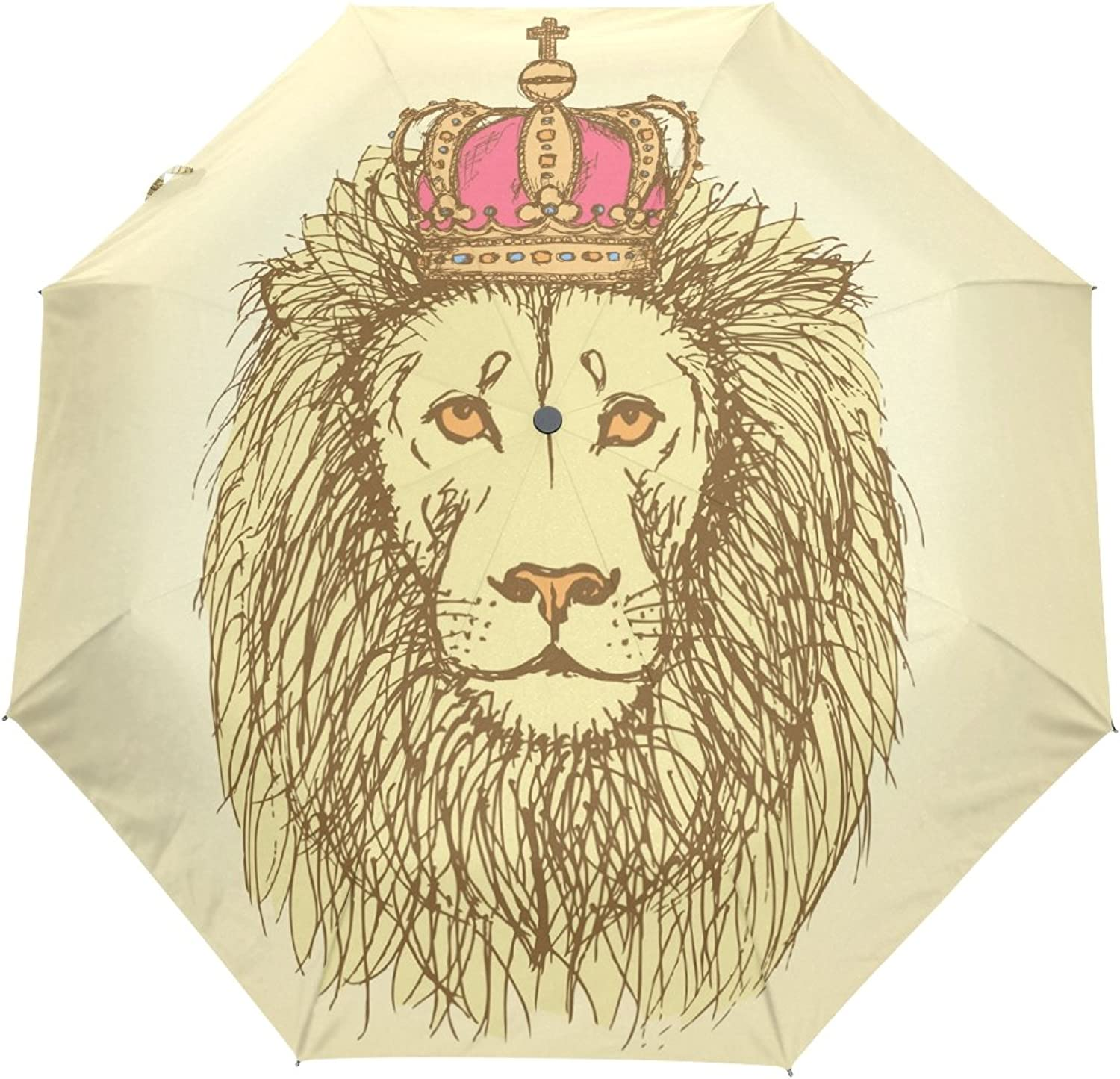 MASSIKOA Sketch Lion with Crown in Vintage Style Umbrella Double Sided Canopy Auto Open Close Foldable Travel Rain Umbrellas