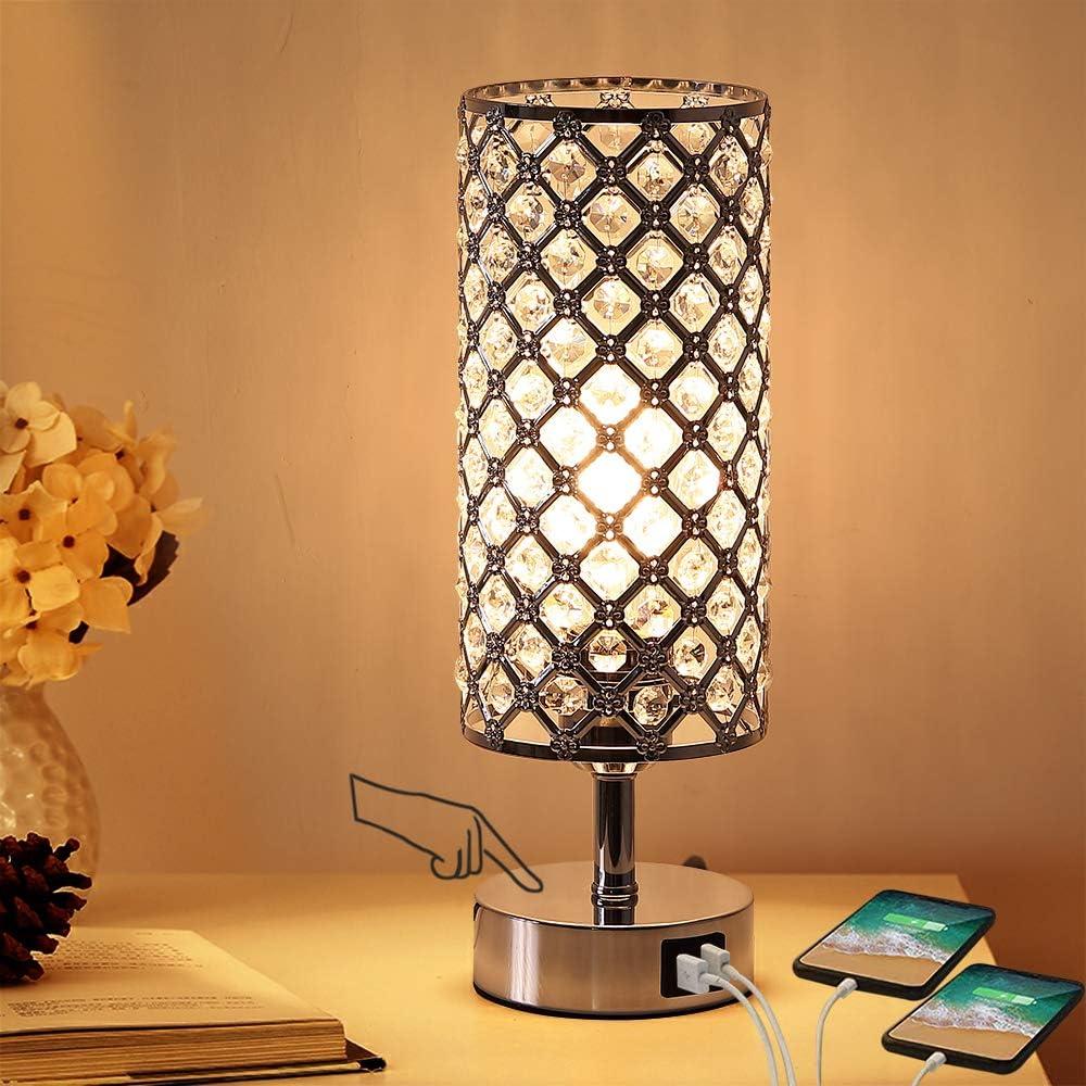 Lampada da tavolo in cristallo con controllo tattile a 3 vie dimmerabile,con doppia porta usb