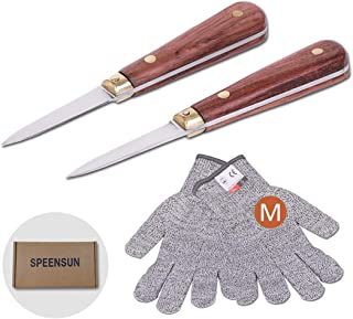 Oyster Shucking Knife,Oyster Knife,SPEENSUN Full Tang Not Easy to Break And Bend,More Secure with Oyster Shucking Glove ( 2Knife And 1Glove M )