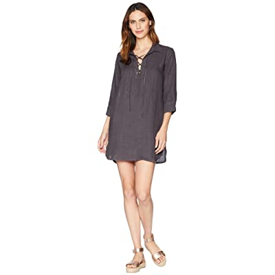 Allen Allen 3/4 Sleeve Tie Front Dress (Flint) Women