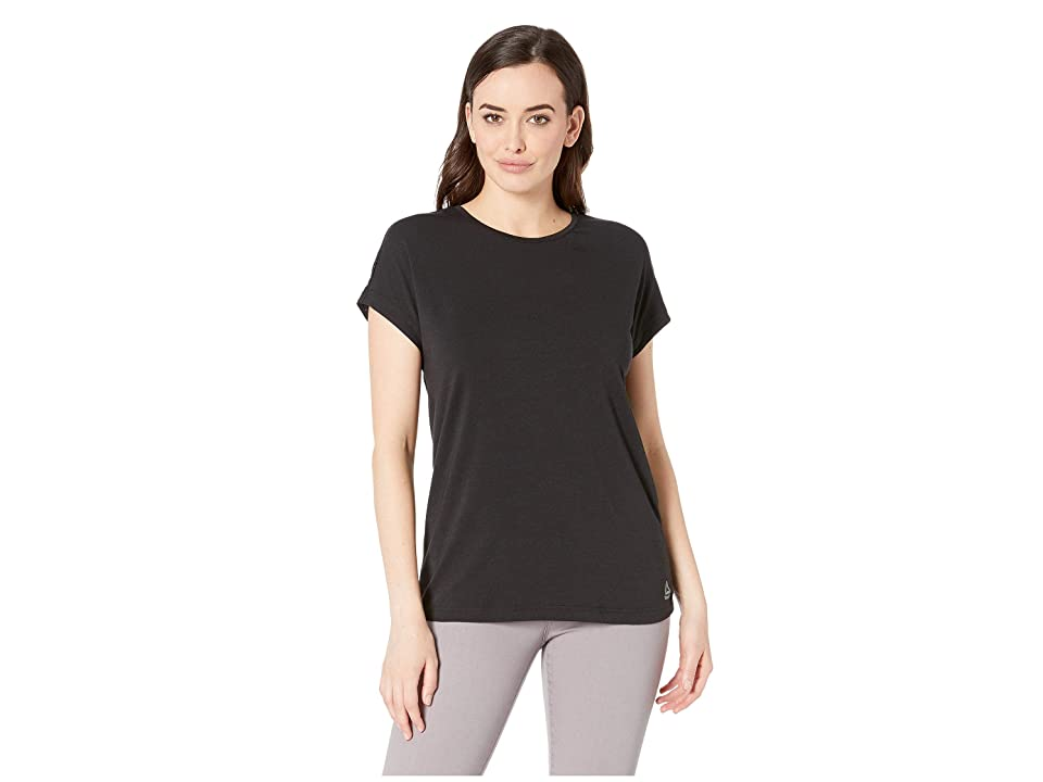 Reebok Workout Ready Mesh Panel Elements Tee (Black) Women