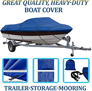 SBU Blue, Boat Cover for Klamath 18 Offshore W/DC W/Glass Windshield All Years