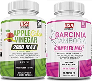 Apple Cider Vinegar Weight Loss - Garcinia Cambogia Capsules Bulk Package ( ONE Bottle of Each)