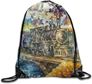 Gym Drawstring Bags Train Oil Painting Draw Rope Shopping Travel Backpack Tote Student Camping