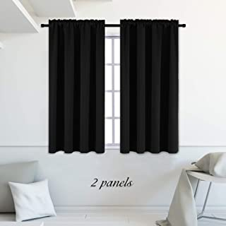 DONREN 99% Blackout Curtain Panels for Bedroom - Thermal Insulating Rod Pocket Drapes for Small Windows(42 x 45 Inch,Set of 2 Panels,Black)
