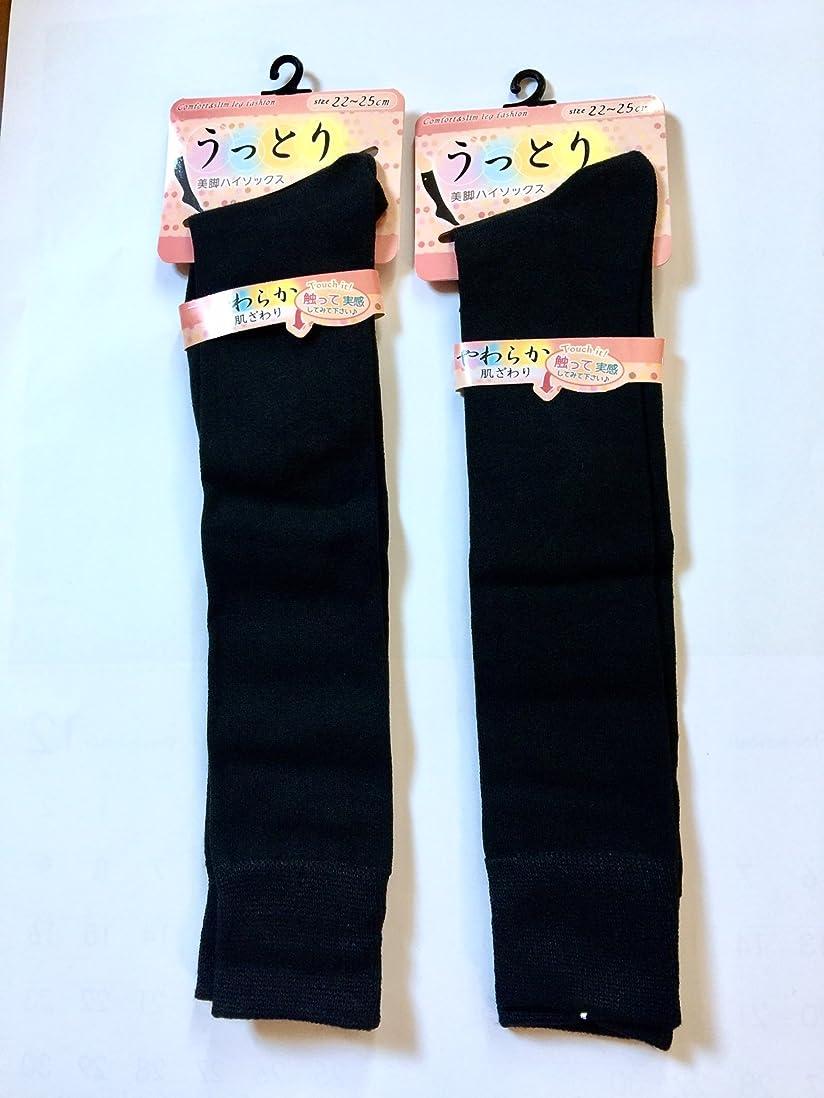 とにかく未就学シールハイソックス レディース 黒 ハイソックス 女の子 22~25cm 丈38cm 2足組