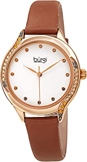 Swarovski Colored Crystals Women's Watch - Genuine Leather Skinny Strap – Studded Bezel and Dial with Embossed Pattern – Japanese Quartz - BUR239