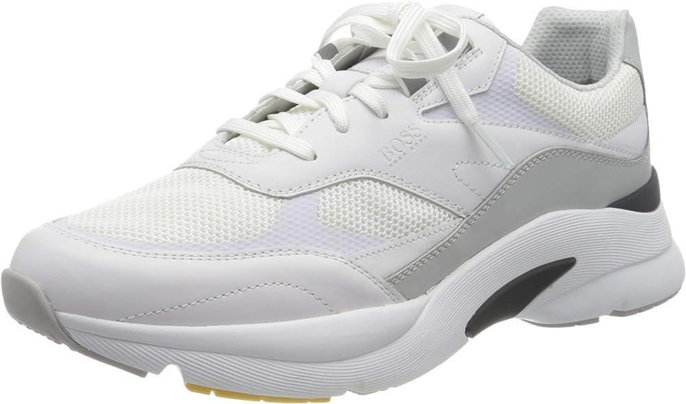 Hugo boss ardical_runn_ltme scarpe sneakers da ginnastica per uomo in pelle sintetica e tela 50452049B