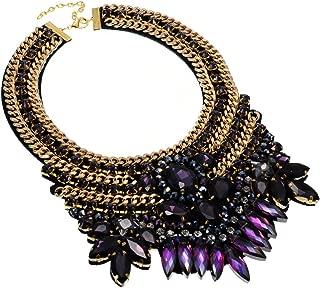 Crystal Rhinestone Statement Necklace, Chunky Collar Choker Bib Pendant Statement Necklace Fashion Necklace Jewelry for Women