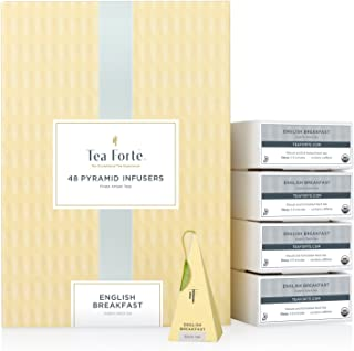Tea Forte English Breakfast EVENT BOX Bulk Pack, 48 Handcrafted Black Tea Pyramid Infuser Bags