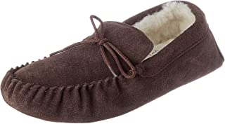 Mens Ladies Unisex Lambswool Moccasin Slipper with Soft Suede Sole - Dark Brown Sizes 4 to 15Brown