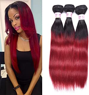 Top Hair Peruvian Ombre Burgundy Hair Extensions Black To Red Straight Weave Two Tone 3 Bundles 10 12 14 Inchs Total 150 Gram